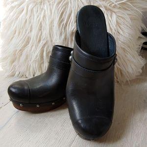 UGG Black Leather Jolene Clogs